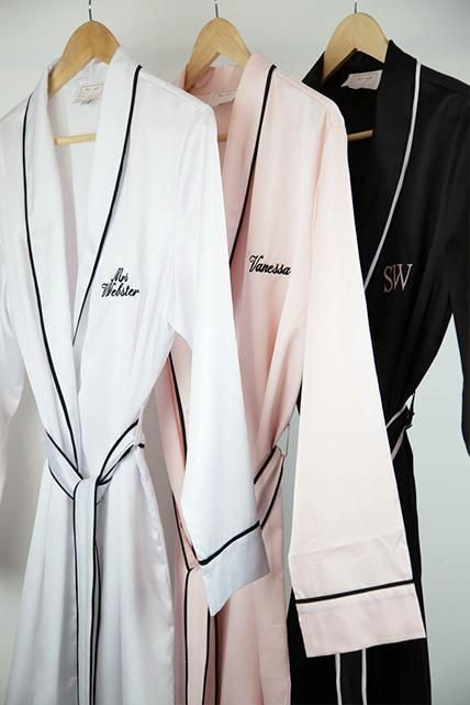 Personalised HA Sleep Satin Dressing Gown Robe - Black