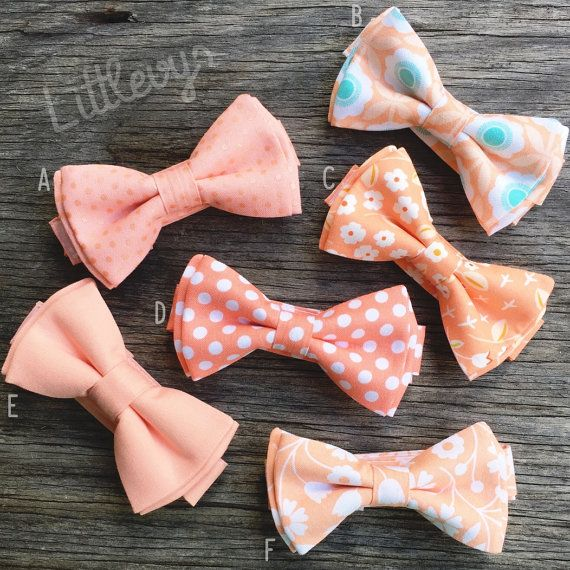 Peach and coral matching ties, perfect for a handsome set of groomsmen! Please choose from one of the following: a) coral + sheen polka dots b) peach