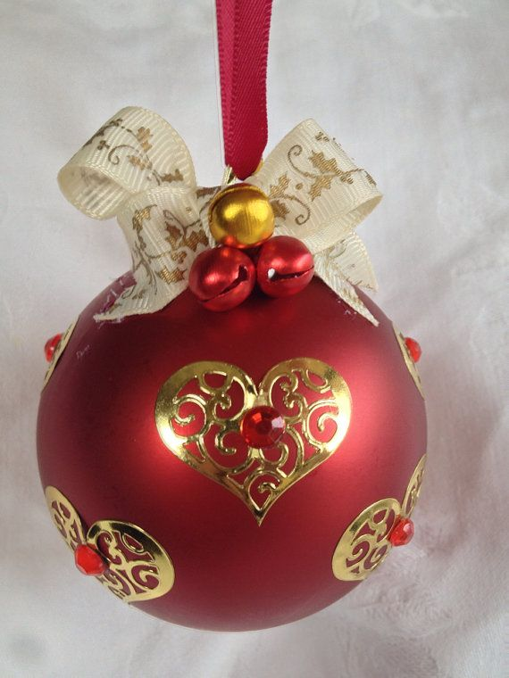 Red and gold heart Christmas bauble. on Etsy, $14.95 AUD. Please do not copy as this is an original design.