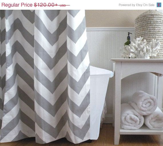 Delightful Christmas In July Sale   Extra Long Shower Curtain Chevron Gray And White  Large Zig Zag