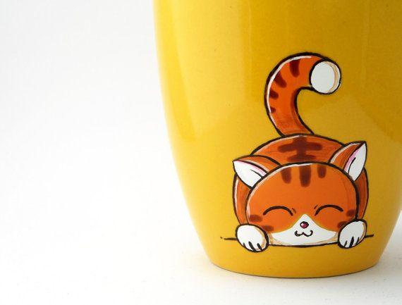 Tazza gatto giallo dipinta a mano di vitaminaeu su Etsy, €15.00