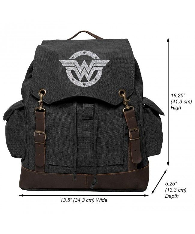 Wonder Woman Logo Vintage Canvas Rucksack Backpack with Leather Straps -  Black   Glitter Silver - C41882T4CW0  Bags  Handbags  Backpacks  gifts   Style 13a65250b7d99