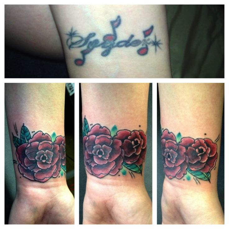 Rose cover up of name tattoo