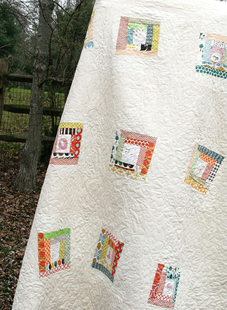 Quilt with modern log cabin blocks