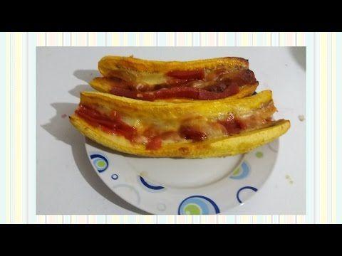 Plátano relleno con queso y bocadillo - YouTube