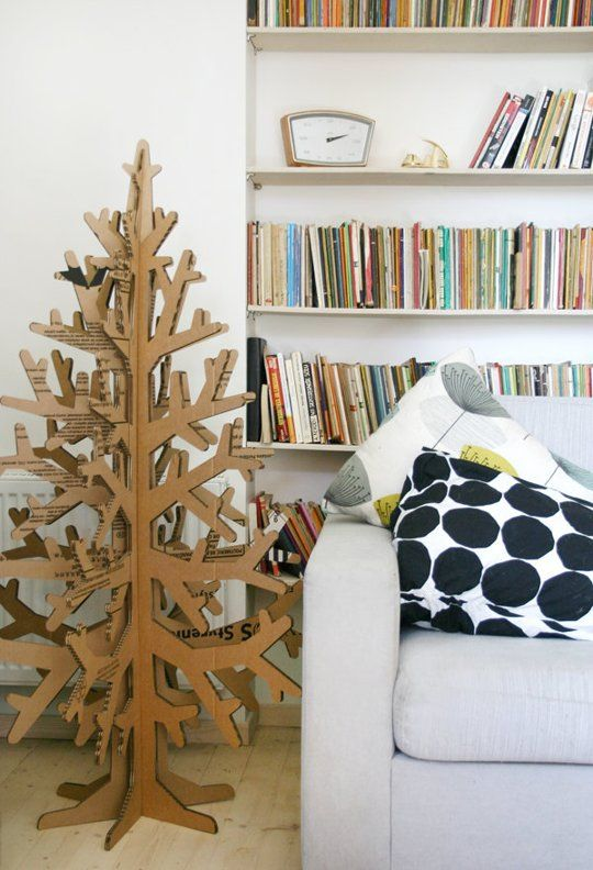 Small Space Solutions: Creative Christmas Tree Ideas for Tiny Homes | Apartment Therapy - a great idea out of cardboard