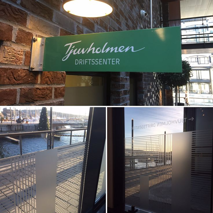 Vindusdekor og firmaskilt for Thjuholmen Driftsenter i Aker Brygge #vindusdekor #frostet #folie #oslo www.foliexperten.no/Vindusdekor