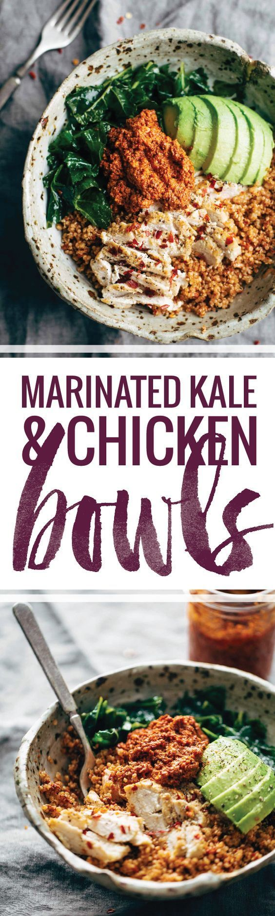 Marinated Kale and Chicken Quinoa Bowl with Sun Dried Tomato Sauce! this recipe is clean, simple, and nutritious!   pinchofyum.com