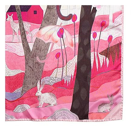 Enchanted Forest Silk Scarf in Neon Pink from Aspinal of London