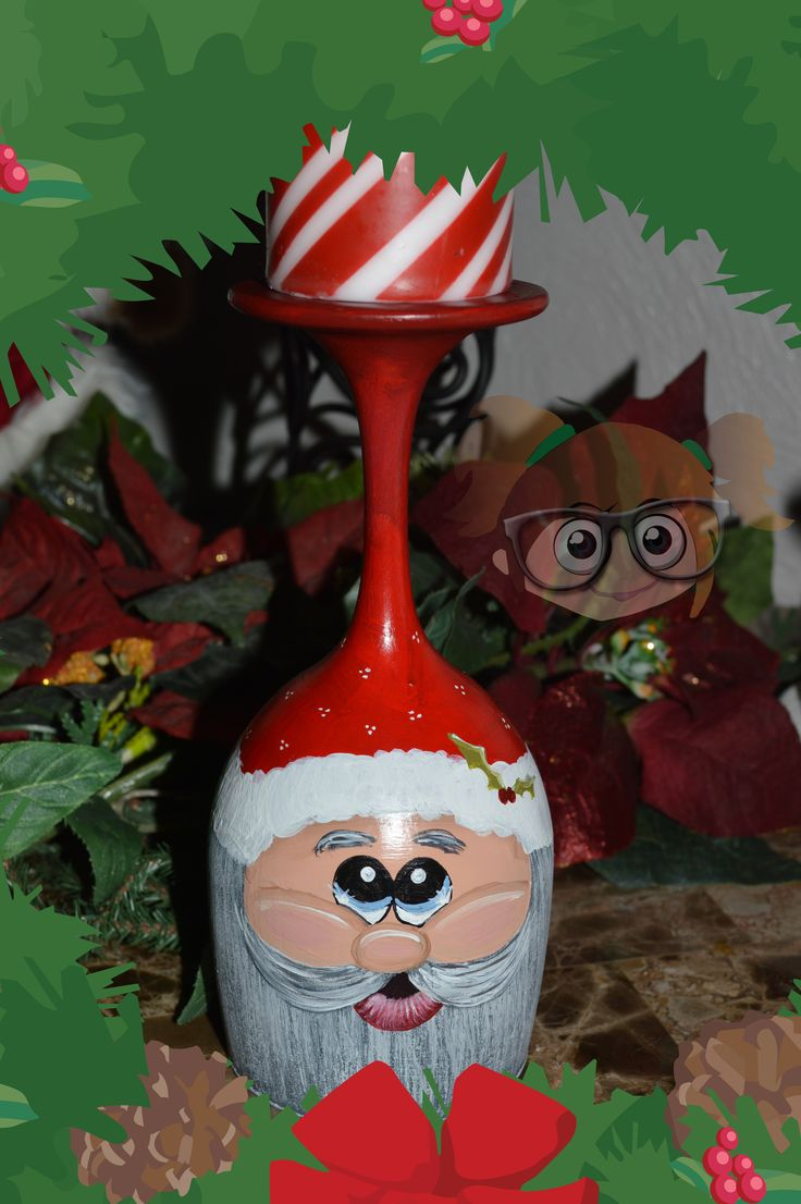 Santa Hand Painted Wine Glass Candle Holder from www.facebook.com/krisscreativecrafts