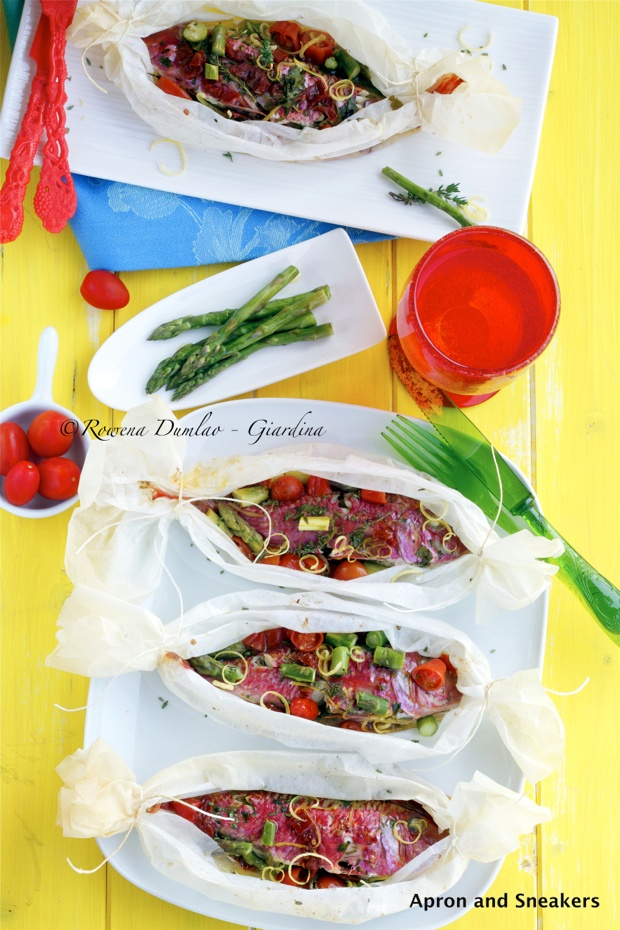 Parchment Baked Red Mullet Fish With Sun-Dried Tomatoes & Asparagus