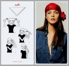 24 ways to tie a scarf - Hermes knotting cards. This is one of the nicest ways to tie a head scarf I think.