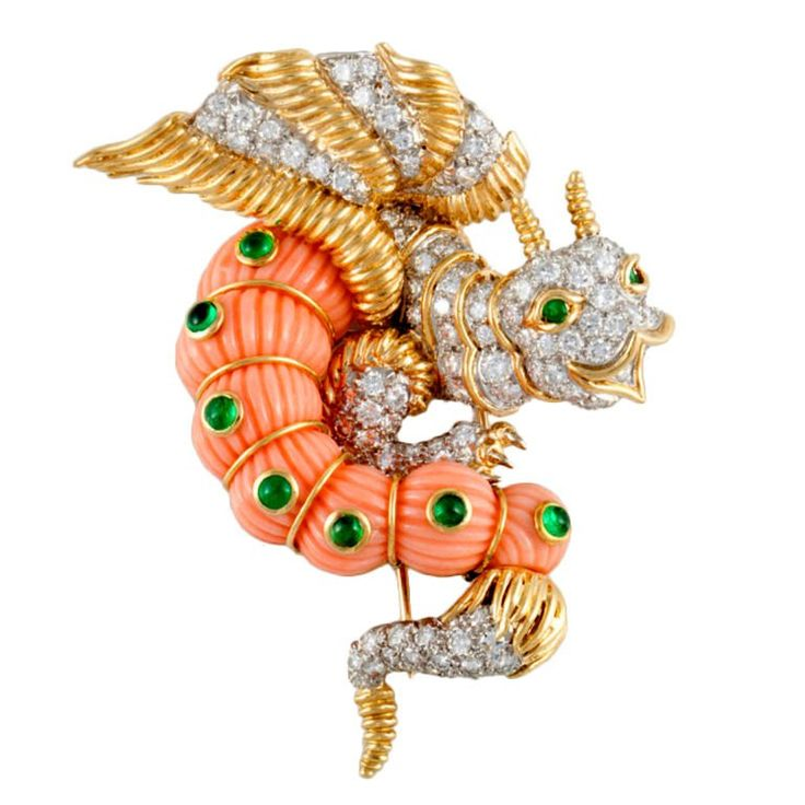 CARTIER Dragon Gold, Platinum, Diamond, Coral, & Emerald Pin For Sale