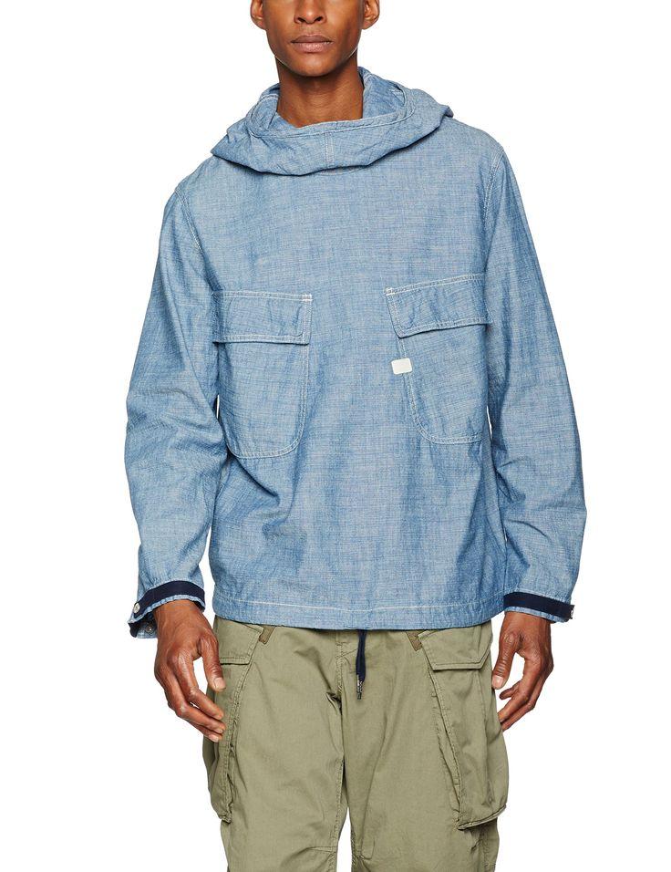 G-Star Raw Men's Chambray Pw Hooded Jacket, Rinsed/Sartho Blue, Medium