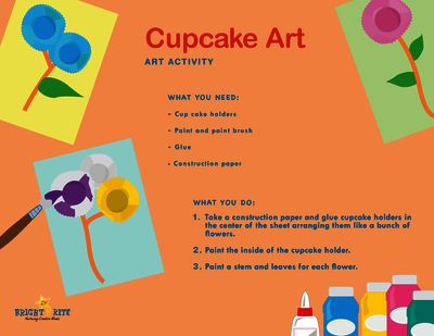 Cupcake flowers, art activity from BrightNRite from BrightNRite on TeachersNotebook.com (1 page)  - lets celebrate with cupcake art, You can use the cupcake holder in many creative ways, the fun never ends.