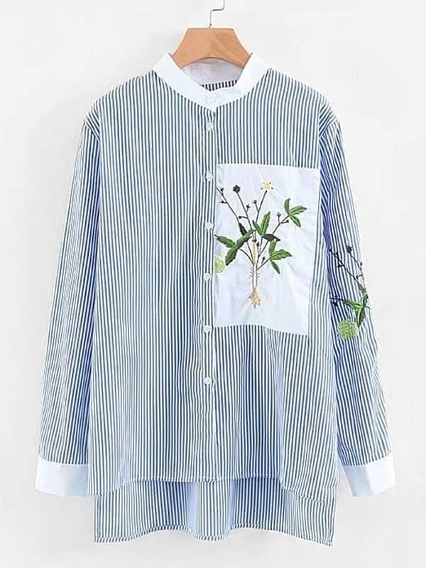 0f496400db Vertical Striped Embroidery High Low Shirt -SheIn(Sheinside) | Dream ...