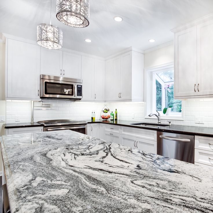 White Cabinets Gray Subway Tile Kashmir White Granite: This Silver Cloud Granite Kitchen Island Countertop Makes Quite An Impact In The Kitchen And As