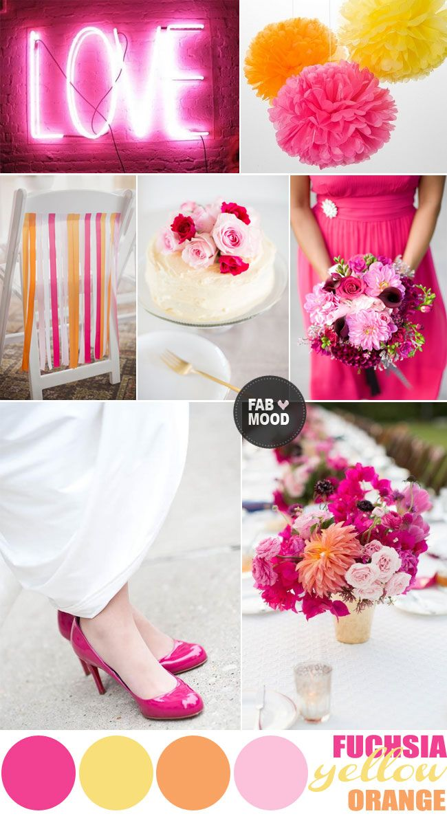 Pretty summer wedding colors palette...fuchsia yellow orange wedding colors palette