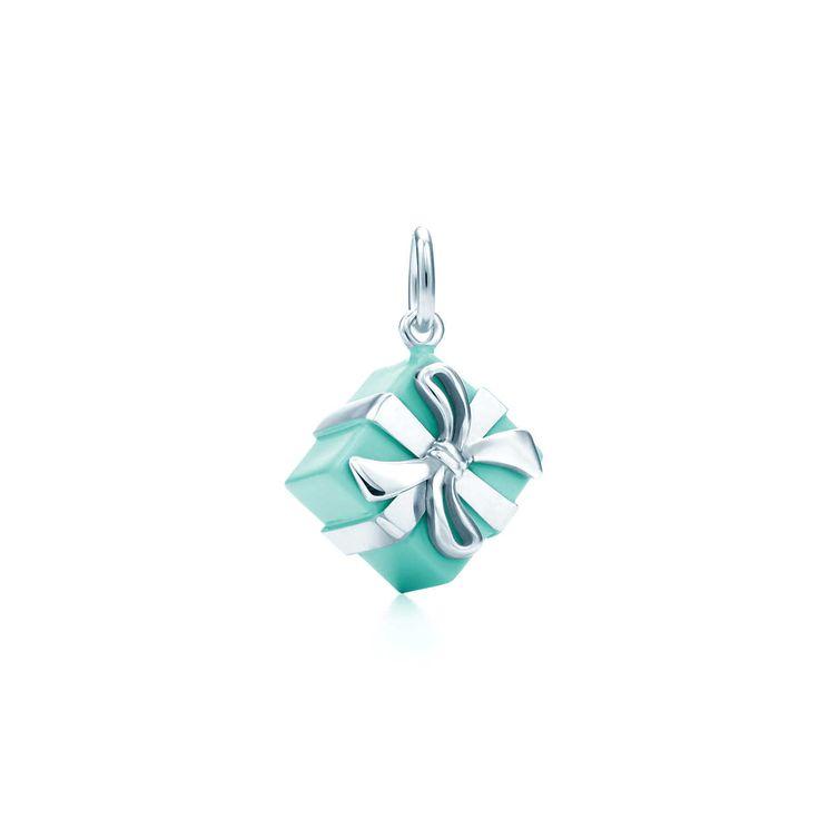 Tiffany Blue Box charm in sterling silver with Tiffany Blue enamel finish.