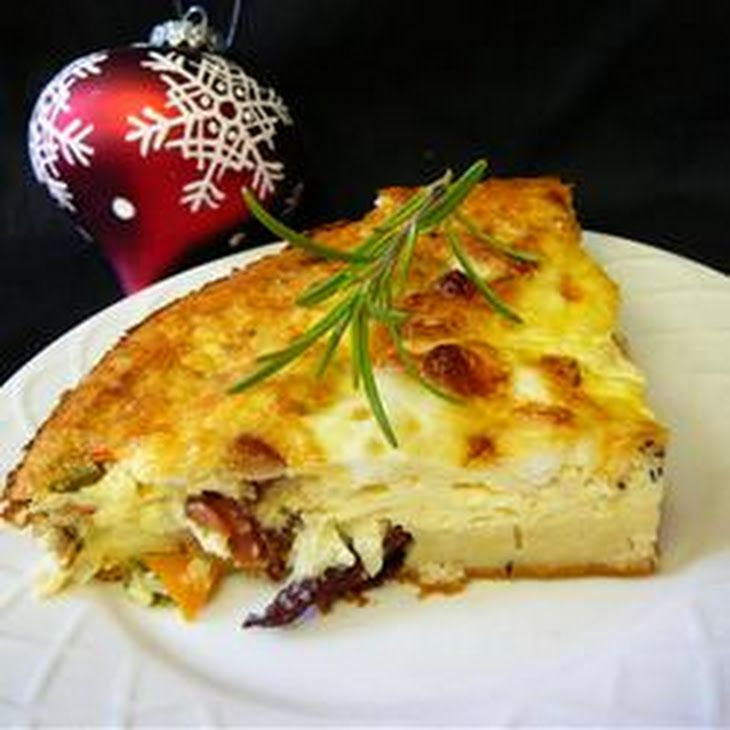 Bacon Pie Recipe with bacon, shredded swiss cheese, chopped onion, milk, eggs, baking mix, ground black pepper