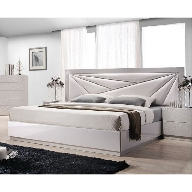 Florence White/Taupe Lacquer Bed by J&M
