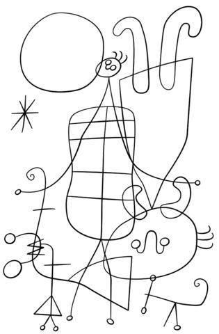 Figures and Dog in Front of the Sun by Joan Miro coloring page from Joan Miro category. Select from 21273 printable crafts of cartoons, nature, animals, Bible and many more.