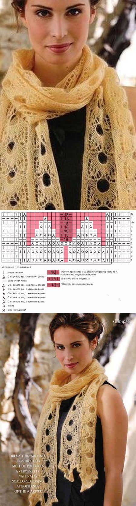 Схема для вязания спицами ажурного шарфа | Ажур
