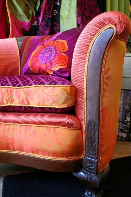 Orange and purple hues go so beautifully together in the great design, pattern and textures of this chair. JH