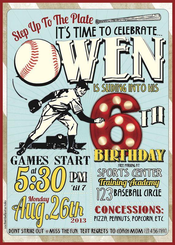 Baseball Birthday Invitations by southernbellavita on Etsy