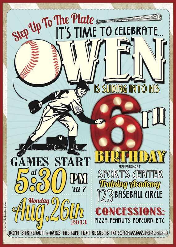 Baseball Birthday Invitations by southernbellavita on Etsy