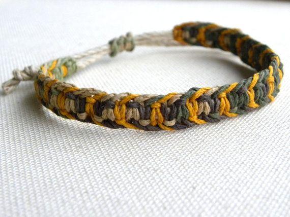 Men's Hemp Macrame Bracelet  - Camo and Yellow - Hemp Jewelry for Him - Gifts Under 10 - Natural Eco Jewelry. $7.00, via Etsy.