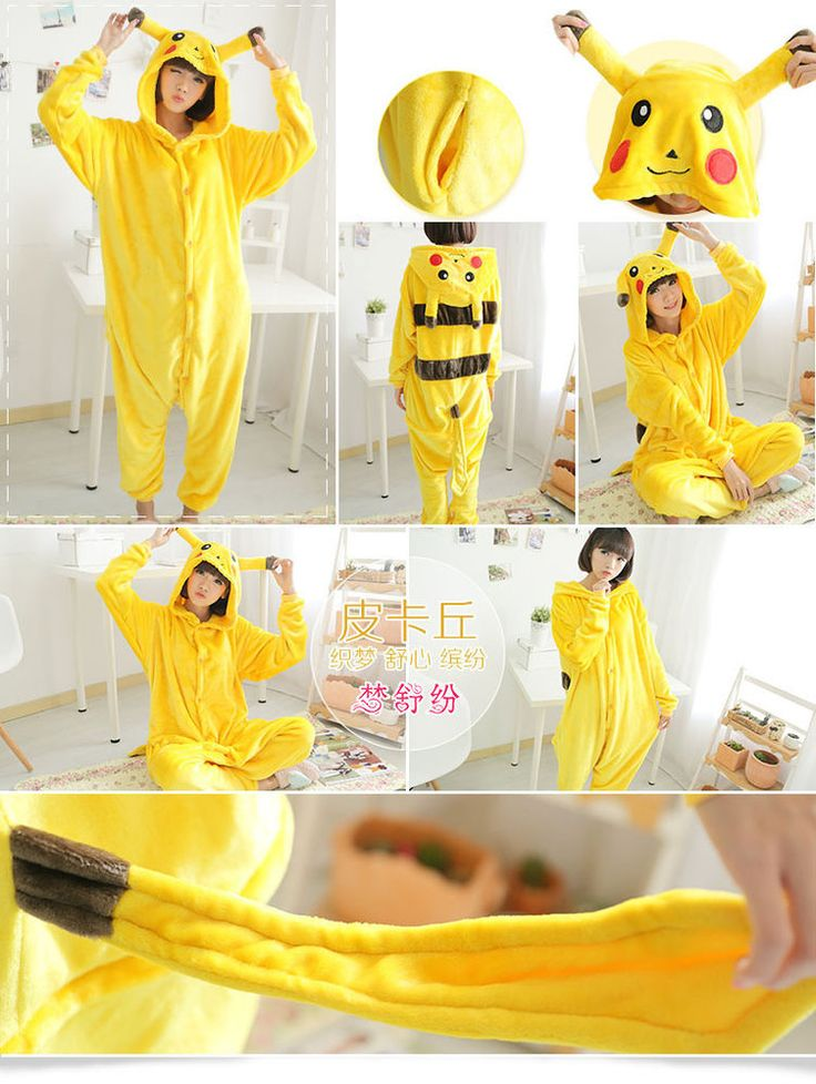 Pokemon Adult Kids Pajamas Pikachu Onesie Unisex Kigurumi Family Sleepwear…