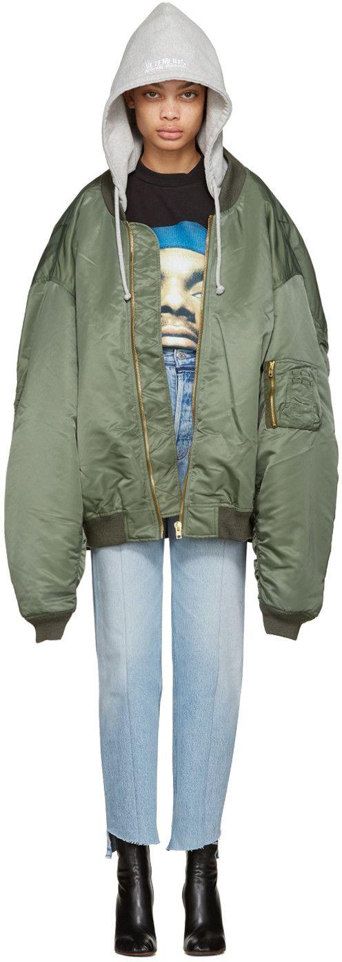 Green Oversized Bomber Jacket | Vetements | Pinterest