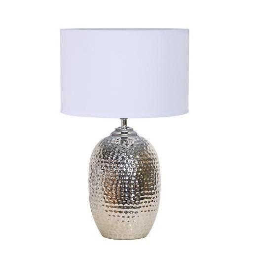 Lampe à poser - Céramique et coton - Ø 23 x H 37 cm - Blanc et gris