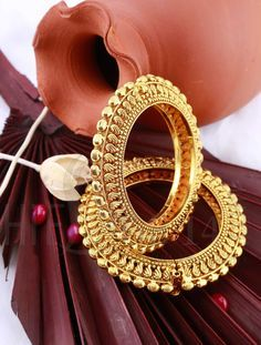 Kada with Antique Gold Finish