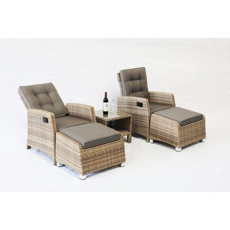 Positano Outdoor 5 Piece Wicker Lounge Set in Taupe   Buy Wicker Outdoor Furniture