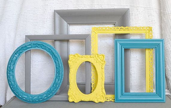 Reserved for Meaghan..Yellow, Grey Teal Frames Set of 6 - Upcycled Frames Modern…