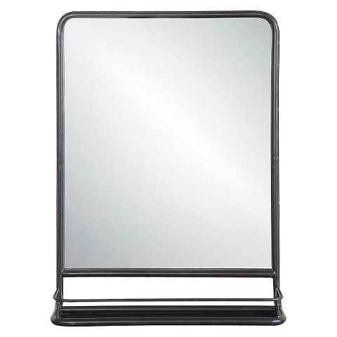 Metal Wall Mirror with Shelf $115 TARGET - very clean and industrial looking - Dimensions: 28H, 6D, 20H. - on short wall in living room