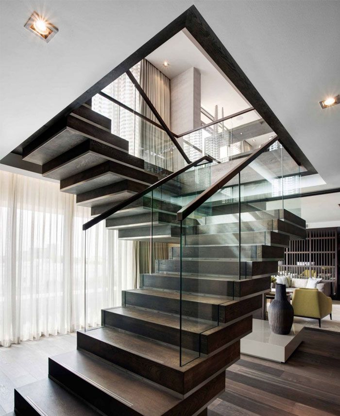 Staircase Decorating Ideas With Modern Design: Contemporary Feel And A Neutral Palette Apartment
