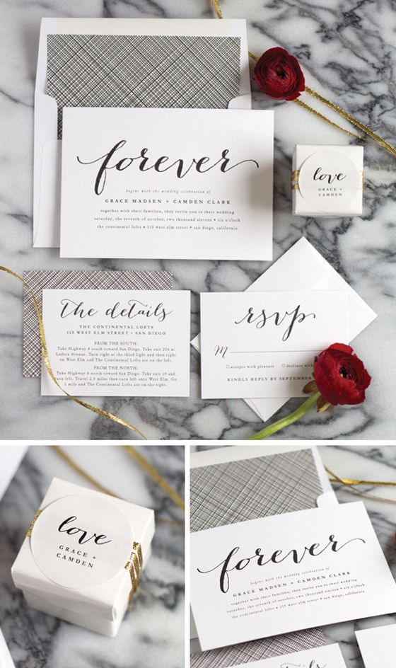 how to mail scroll wedding invitations%0A These classic black and white wedding invitations are timeless  Pair this  invite suite with red and gold accents to add a little glam to the look