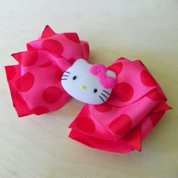 Pink Hello Kitty Hair Bow  Layered Boutique by fortheloveofzebra, $6.00