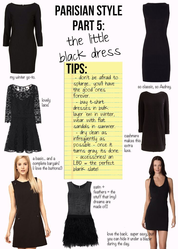 """#5 The Little Black Dress // """"Magnificent Seven."""" The non-negotiable items that everyone must own, the essentials to chic, Parisian Style, from """"PARISIAN CHIC, BY INES DE LA FRESSANGE."""""""