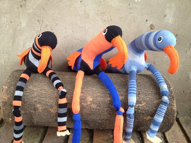 Orange Sock Birds R100 each https://www.facebook.com/snugglebuggoodies