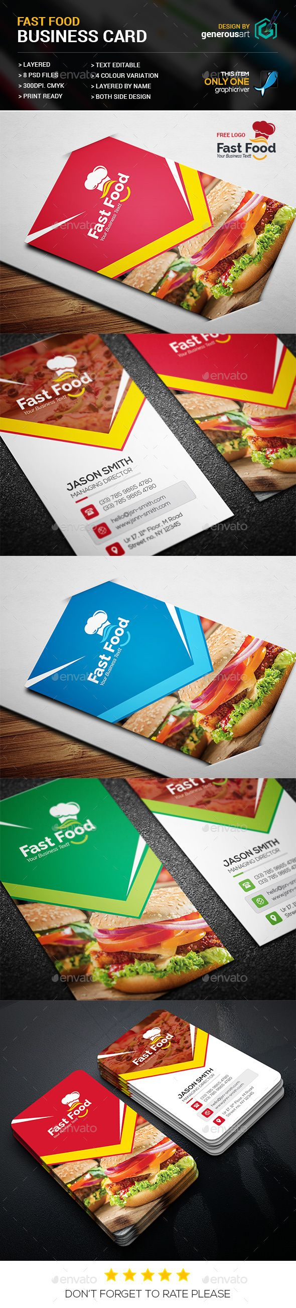Fast Food Business Card Template PSD. Download here: https://graphicriver.net/item/fast-food-business-card/17513699?ref=ksioks