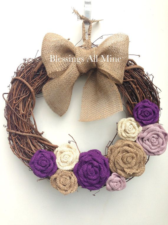 18 inch Grapevine Wreath, Purple, Lavender, White, and Sand Burlap Flowers, Neutral Tan Bow Hanger, Spring Summer Fall Autumn Wedding Wreath by BlessingsAllMine