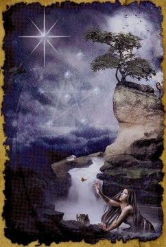 Star card in the Mystic Dreamer Tarot-Can you be yourself under any circumstances?  Have you fallen in love with your essential self?  Can you allow your true inner beauty to shine forth?