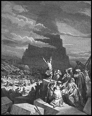 De toren van babel op de oude vlakten van Sinear; Symbool voor de klim naar de hemelse autoriteit. Het oude gevestigde concept van autoriteit wat gebaseerd was op gerechtigheid en recht werd nu vervangen door de handelsbankiers 'schulden op basis van de slavernij-systeem.