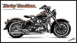 Tableau Harley Davidson softail moto peinture moderne est un tableau peint à la main et à l'acrylique par l'artiste peintre Alexandre Balestra.