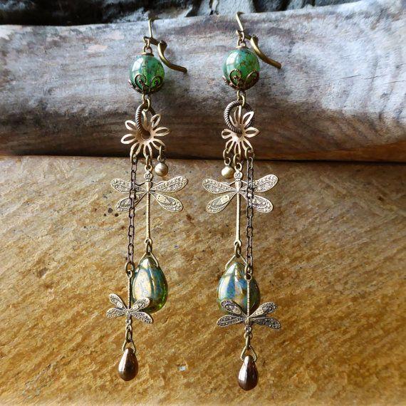 Art Nouveau Dragonfly earrings bronze luster jade by lecoupdegrace