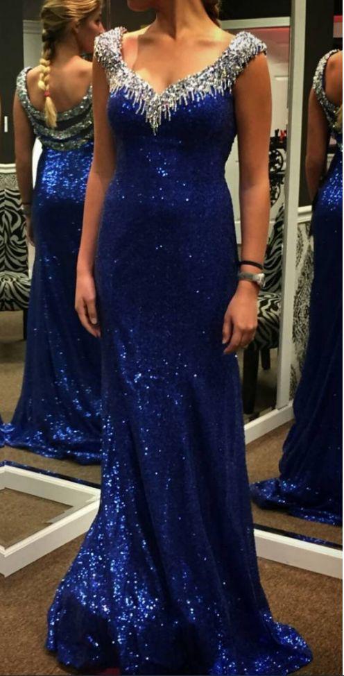 Blue Beading Sweep/Brush Train Sheath/Column Sequins Prom Dresses